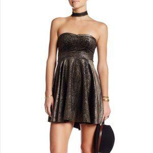 Free People Shattered Velvet Mini Dress Black Gold